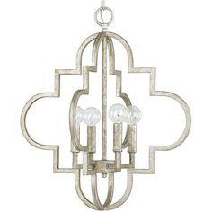 """Contempo Arabesque Chandelier - Large.  26""""W x 28.25""""H.  4x60watt c.  Antique silver finish. Quatrefoil shape"""