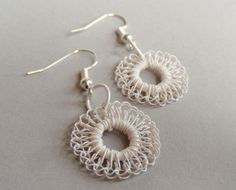 Hand Crochet Wire White Circles Earrings by by PrayerMonkey, $13.00  Want these for summer!