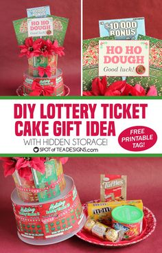 Step by step photo tutorial to make a DIY Lottery Ticket Cake featuring New Jersey Lottery instant win tickets and a secret spot to stash some sweets. Diy Christmas Gifts For Family, Homemade Christmas Gifts, Christmas Gift Tags, Homemade Gifts, Christmas Stuff, Lottery Ticket Christmas Gift, Lottery Ticket Gift, Win Tickets, Diy Birthday Gifts For Him