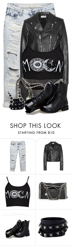 """Ripped Jeans & Leather Jacket"" by majezy ❤ liked on Polyvore featuring Wet Seal, Yves Saint Laurent, Boohoo, STELLA McCARTNEY, Sunsteps, Valentino and Rebecca Minkoff"