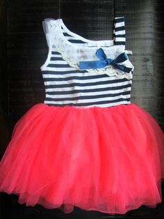 Baby Girl Clothes - Girls Dresses - Tutu Dress - Pink TuTu Nautical Dress - Girls First Birthday Oufit -Girls Nautical Outfit - Navy Pink on Etsy. Nautical Outfits, Nautical Dress, Baby Kind, My Baby Girl, Little Girl Fashion, Kids Fashion, Pink Tutu Dress, Kids Outfits, Cute Outfits