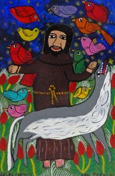 St. Francis. Artist: Lucas Lorenzo. Acrylic on masonite