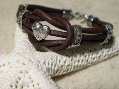 Love Knot Chocolate Heart Leather and Sterling Silver Bracelet Valentines by TANGRA2009