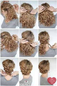 45 Charming Bride's Wedding Hairstyles For Naturally Curly Hair trenzas 3 hermosos diseños Curly Hair Styles, Curly Hair Tips, Long Curly Hair, Natural Hair Styles, Short Curly Updo, Curly Hair Braids, Natural Beauty, Curly Girl, Style Curly Hair