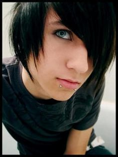 cute guys with longish black hair bright blue eyes great teeth and lip piercing they are BEAUTIFUL! <3