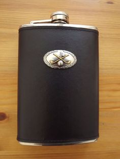 Black Genuine Leather Wrap Stainless Steel Flask Silver Gold Plated Golf Club #MDREAM