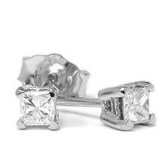 Priness Cut .25CT Diamond Studs 14K White Gold Womens Earrings