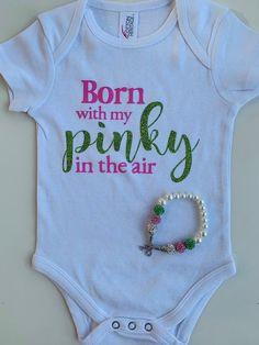 Born with my PINKY in the air bodysuit - By Merit and By Culture. Aka Sorority, Alpha Kappa Alpha Sorority, Pretty In Pink, Pretty Girls, Alpha Kappa Alpha Paraphernalia, Pink Apple, Waist Cincher Corset, Waist Training Corset, Girls World