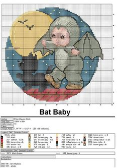 Kid dressed up as a bat Tiny Cross Stitch, Cross Stitch For Kids, Cross Stitch Animals, Cross Stitch Charts, Cross Stitch Designs, Cross Stitch Patterns, Cross Stitching, Cross Stitch Embroidery, Stitch And Angel