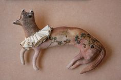 Weasel textile art doll soft sculpture embroidered by pantovola