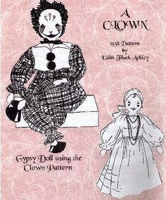 Clown & Gypsy Doll Pattern by Edith Flack by FransVintagePatterns, $8.99
