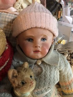 Chase doll gets a kitten Getting A Kitten, Old Dolls, Doll Clothes, Winter Hats, Crochet Hats, Babies, Toys, Puppets, Knitting Hats