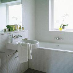 I love white mosaic tiles White Mosaic Tiles, White Bathroom Tiles, Modern Bathroom, Small Bathroom, Master Bathroom, Bathroom Ideas, Bathroom Inspiration, Interior Inspiration, Tile Tub Surround