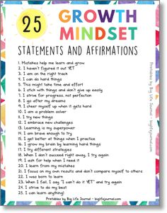 Things You Can Do Right Now To Build a Childs Confidence Growth Mindset statements printable kids big life journalGrowth Mindset statements printable kids big life journal Mindfulness For Kids, Mindfulness Activities, Mindfulness Benefits, Mindfulness Training, Mindfulness Practice, Social Emotional Learning, Social Skills, Parenting Advice, Kids And Parenting