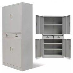 PananaHome Metal Office Storage Cupboard 3 Tier Lockable Standing Filing File Cabinet Storage Unit White