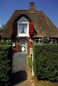 Tucked away behind a hedge is Holiday Cottage, in Föhr, Germany. I want dibs on the room upstairs with the window ~ by David A. L. Davies