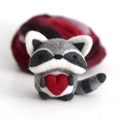 Raccoon is getting ready for Valentine's Day.❤️ Happy Friday everyone! .⠀ .⠀ .⠀ #wildwhimsywoolies #raccoon #raccoonlove #trashpanda #woodlandcreatures #fiberart #textileart #torontoartisan #kawaiiart #arttoy #softsculpture #heartsday