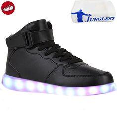 (Present:kleines Handtuch)Weiß EU 45, Blinkende Herren Led Sneakers mode Light Farbwechsel Sport Leuchtende Neu JUNGLEST®