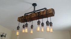 Distressed Wood Beam Pendant Chandelier Pipe Light Barn Wood Industrial | eBay
