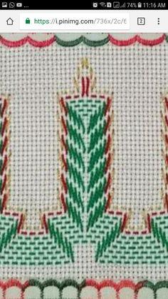 Punto yugoslavo Bargello Needlepoint, Broderie Bargello, Bargello Patterns, Swedish Embroidery, Towel Embroidery, Embroidery Hoop Art, Embroidery Stitches, Embroidery Patterns, Free Swedish Weaving Patterns