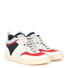 Laterale Sneaker Leather Crown Tennis in pelle bianca