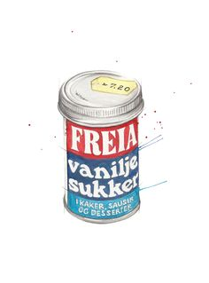 """Vaniljesukker"" (Norwegian powdered vanilla sugar)  Copyright: Emmeselle.no  Illustration by Mona Stenseth Larsen Mountain Cottage, Norwegian Food, Norway, Nostalgia, Illustrations, Health, Art Pictures, Health Care, Illustration"