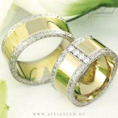Barocco Bold karikagyűrűk - sárga és fehér rarany kombinált jegygyűrűk apró gyémántokkal. http://www.affianced.hu/
