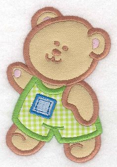 Teddy Bear boy with Overalls double applique small | Applique Machine Embroidery Design or Pattern