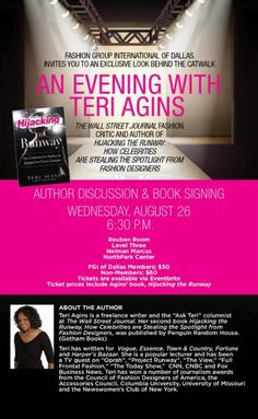 Terri Agnes will be visiting FGI Dallas!!! Signing her book 'Hijacking the Runway' go get your Tickets ASAP!!