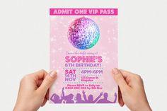 Disco Invite Printable Personalised Invitation by SplendourVendor