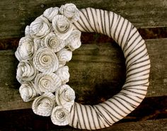 Paper rose wreath.