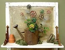 what a great idea for the collection of faucet handles i have in my potting shed Garden Deco, Garden Art, Garden Hose, Metal Yard Art, Metal Art, Metal Crafts, Wood Crafts, Art Projects, Projects To Try