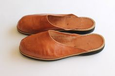 Vintage leather mules buttery soft slip ons by clothesmineded, $42.00  love how basic these are