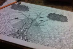 Paisaje en tinta China en caricatura con diversas texturas