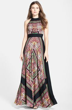 """Eliza J Scarf Print Crêpe de Chine Maxi Dress - Love the idea of a scarf print maxi dress - not """"as"""" in love with the colors in this one, especially the green, but like the way patter is used."""