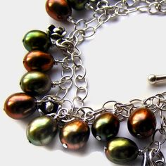 Sterling Silver Bracelet Pearls Green Copper by ShooglyBeads, £35.00
