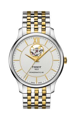 TISSOT TRADITION POWERMATIC 80 OPEN HEART The Tissot Tradition gives modern watchmaking a hint of nostalgia with a vintage-style perfectly balanced with classical details and subtle finishes. These are complemented by design elements such as guilloche decoration on bracelet models and a gently curved case. This new model has an open heart on the dial and a see through case back to expose the automatic movement.