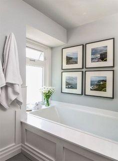 Benjamin Moore's Wickham Gray (HC-171), blue undertone provides a restful, spa-like feel to the bathroom