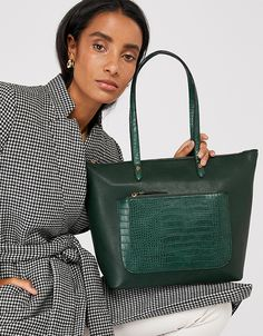 Sitting pretty between smart and casual, our Emily tote bag is a fail-safe choice for everyday styling. This leather-look design has a suedette front pocket . Latest Bags, Style Finder, Star Jewelry, Beach Accessories, Watch Necklace, Flip Flop Shoes, High Leg Boots, Green Bag, Kids Bags