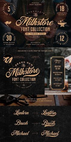The Milkstore Font Collection contains a set of 5 textured fonts with an authentic hand crafted look. The fonts are inspired by vintage brick wall murals and they work perfectly for logo, packaging or title design with a hand crafted vibe. Graphic Design Fonts, Typography Design, Logo Design, Menu Design, Vector Design, Layout Design, Design Design, Cursive Fonts, Handwritten Fonts