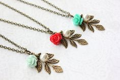 Hey, I found this really awesome Etsy listing at https://www.etsy.com/ca/listing/265208936/mint-rose-necklace-bridesmaids-gift