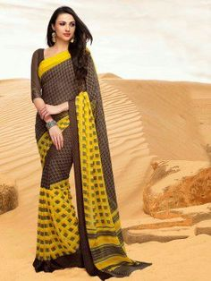 Yellow And Brown Georgette Saree With Print Work
