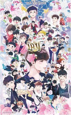2015 lay's birthday by langmanpanda on FanBook Kpop Exo, Exo Kokobop, Baekhyun Chanyeol, Park Chanyeol, Exo Fanart, Exo Cartoon, Exo Stickers, Exo Red Velvet, Exo Anime