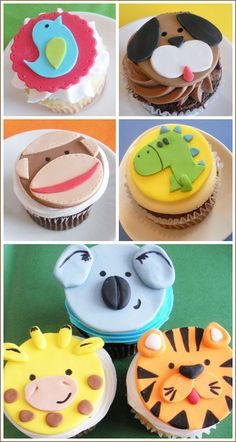 Adorable fondant cupcake toppers from Two Sugar Babies. Custom made from hand cut fondant in fun animal shapes and more! Zoo Animal Cupcakes, Kid Cupcakes, Animal Cakes, Yummy Cupcakes, Cupcake Cookies, Safari Cupcakes, Valentine Cupcakes, Fondant Cupcake Toppers, Fondant Animals