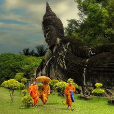 Xieng Khuan is a Buddha park located 25 km southeast from Vientiane, Laos in a meadow by the Mekong River, By Alika
