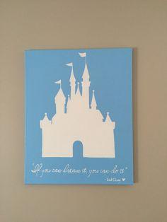 Disney& Cinderella Castle Canvas Painting // Home Decor // Walt Disney Quote, Disney Canvas Paintings, Canvas Painting Quotes, Easy Canvas Painting, Diy Canvas Art, Painting For Kids, Diy Painting, Canvas Ideas, Quote Canvas, Disney Diy