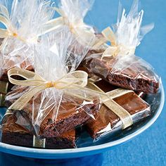 Individually-Wrapped Brownies put in a basket for guests to take as they leave the party