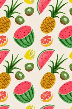 Summer fruits wallpaper {pineapple and watermelon pattern}.