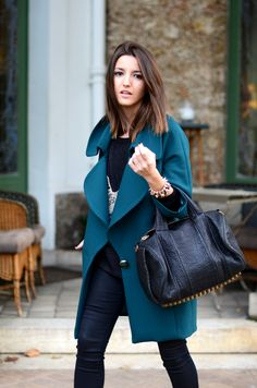 Love this teal coat; not a coat color you see any old day.