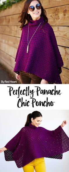 Perfectly Panache Chic Poncho free crochet pattern in Chic Sheep Merino Wool yarn.